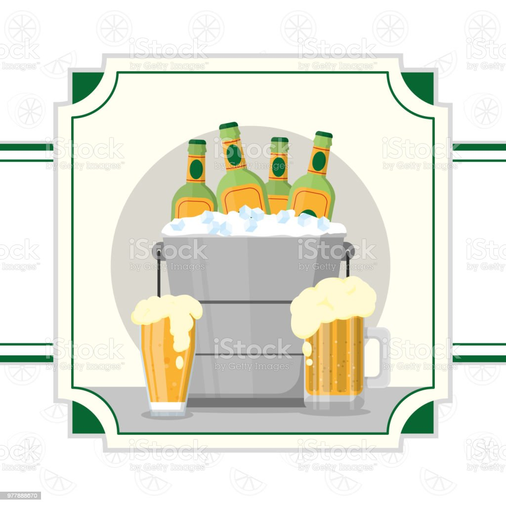 Cold beers drink vector art illustration