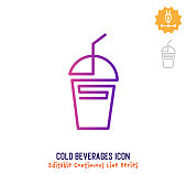 istock Cold Beverages Continuous Line Editable Icon 1250000183