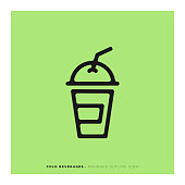 Cold Beverages Rounded Line Icon