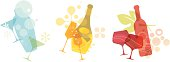 Abstract vector illustrations of cocktail, champagne and red wine. These colourful retro inspired graphic adds a splash of style to your project. Ideal for drink menu and party invitation.