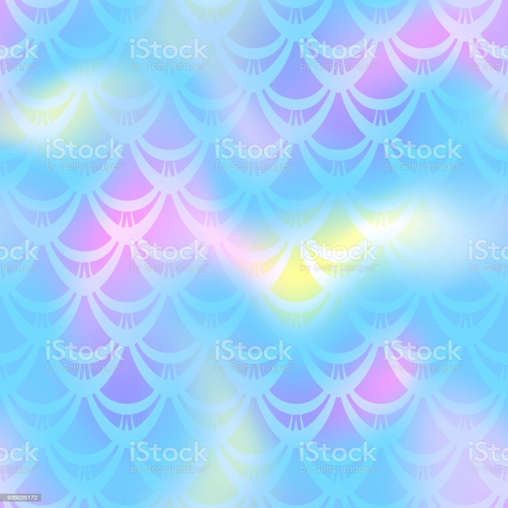 Cold blue pink mermaid scale vector background. Candy iridescent background. Fish scale pattern. vector art illustration