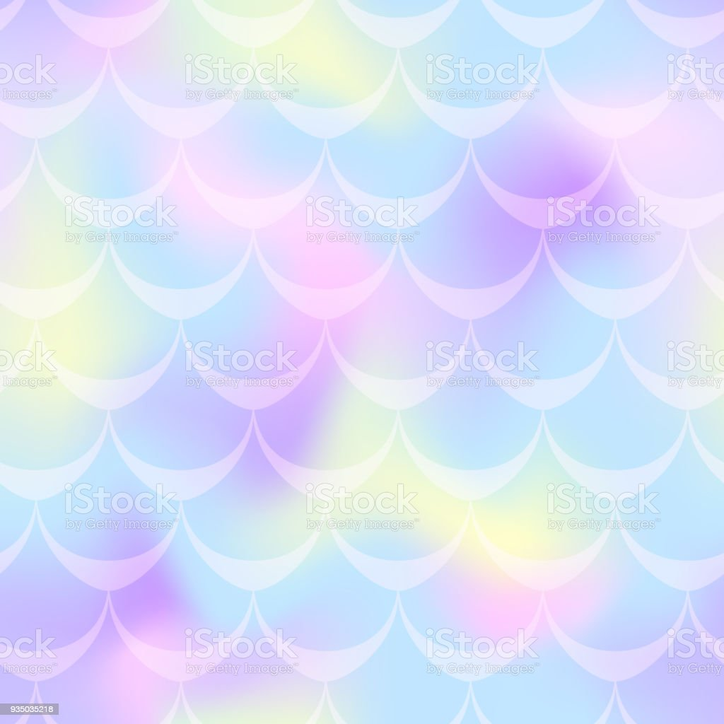 Cold blue yellow mermaid scale vector background. Pastel iridescent background. Fish scale pattern. vector art illustration