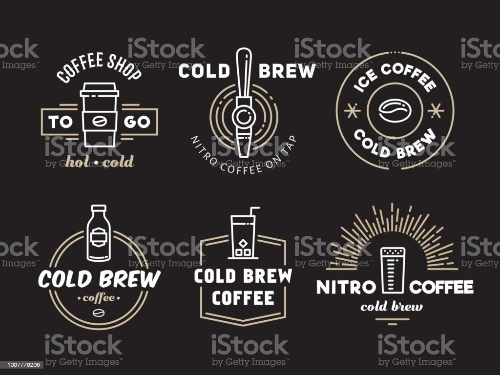 Cold brew coffee and nitro coffee logos vector art illustration