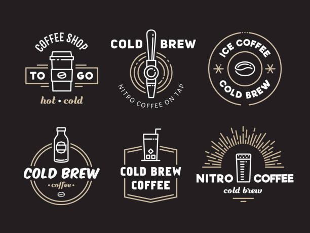 Cold brew coffee and nitro coffee logos Cold brew coffee and nitro coffee logos. Vector line art badges for cafe of coffee shop. cafe stock illustrations