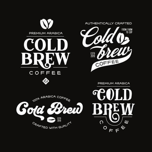 ilustrações de stock, clip art, desenhos animados e ícones de cold brew coffee labels badges emblems set. vector vintage illustration. - coffe shop