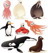 Fully editable vector illustration of a collection of cold climate animals.
