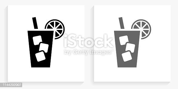 Cold Drink Black and White Square IconDocuments and Paper Clip Black and White Square Icon