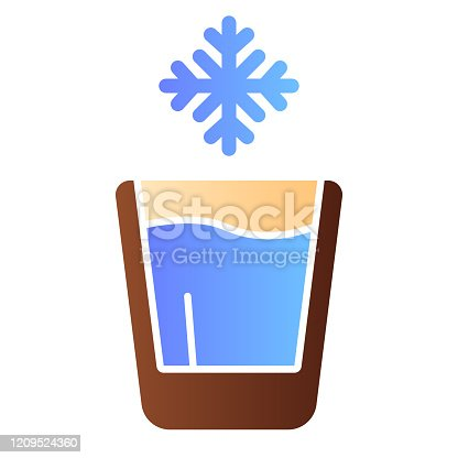 istock Cold drink flat icon. Iced drink color icons in trendy flat style. Glass of water gradient style design, designed for web and app. Eps 10. 1209524360