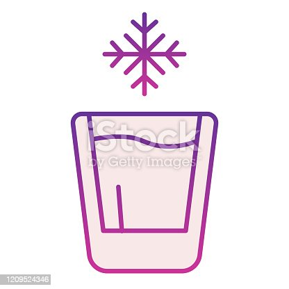 istock Cold drink flat icon. Iced drink violet icons in trendy flat style. Glass of water gradient style design, designed for web and app. Eps 10. 1209524346