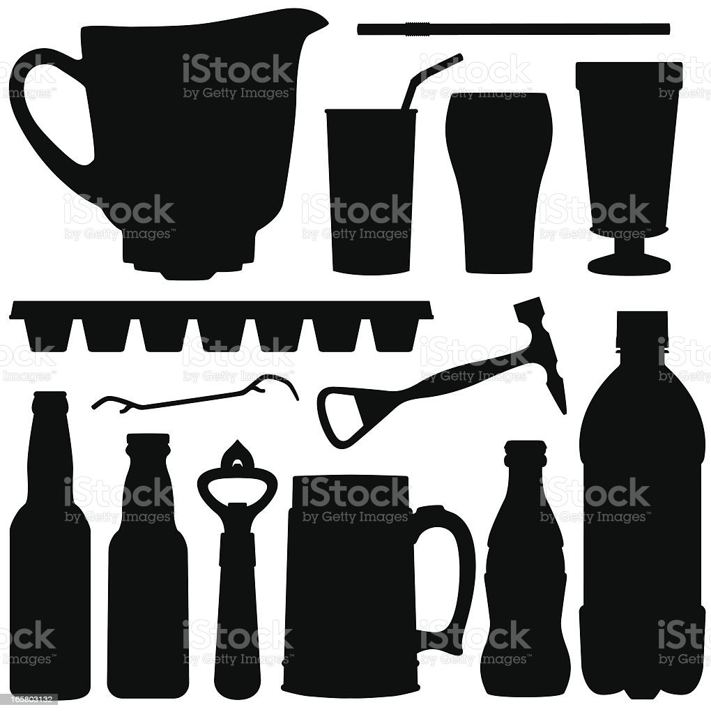 Cold Drink Silhouettes vector art illustration