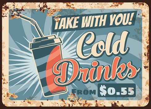 Cold drinks rusty metal plate, vector beverage