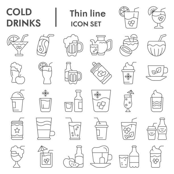 ilustrações, clipart, desenhos animados e ícones de conjunto de ícones de linha fina de bebidas frias, coleção de símbolos de bebidas de verão, esboços de vetores, ilustrações de logotipo, bebidas alcoólicas e não alcoólicas sinalizam pacote de pictogramas lineares 10. - tea drinks