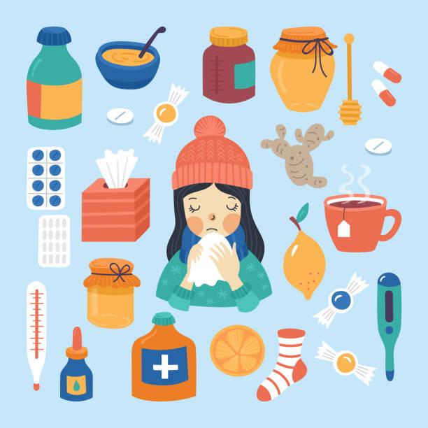 ilustraciones, imágenes clip art, dibujos animados e iconos de stock de concepto frío de la tratamiento de la gripe y virus - flu
