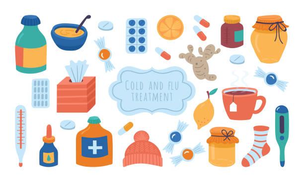 stockillustraties, clipart, cartoons en iconen met koude griep en virus behandeling concept. - stickers met relief