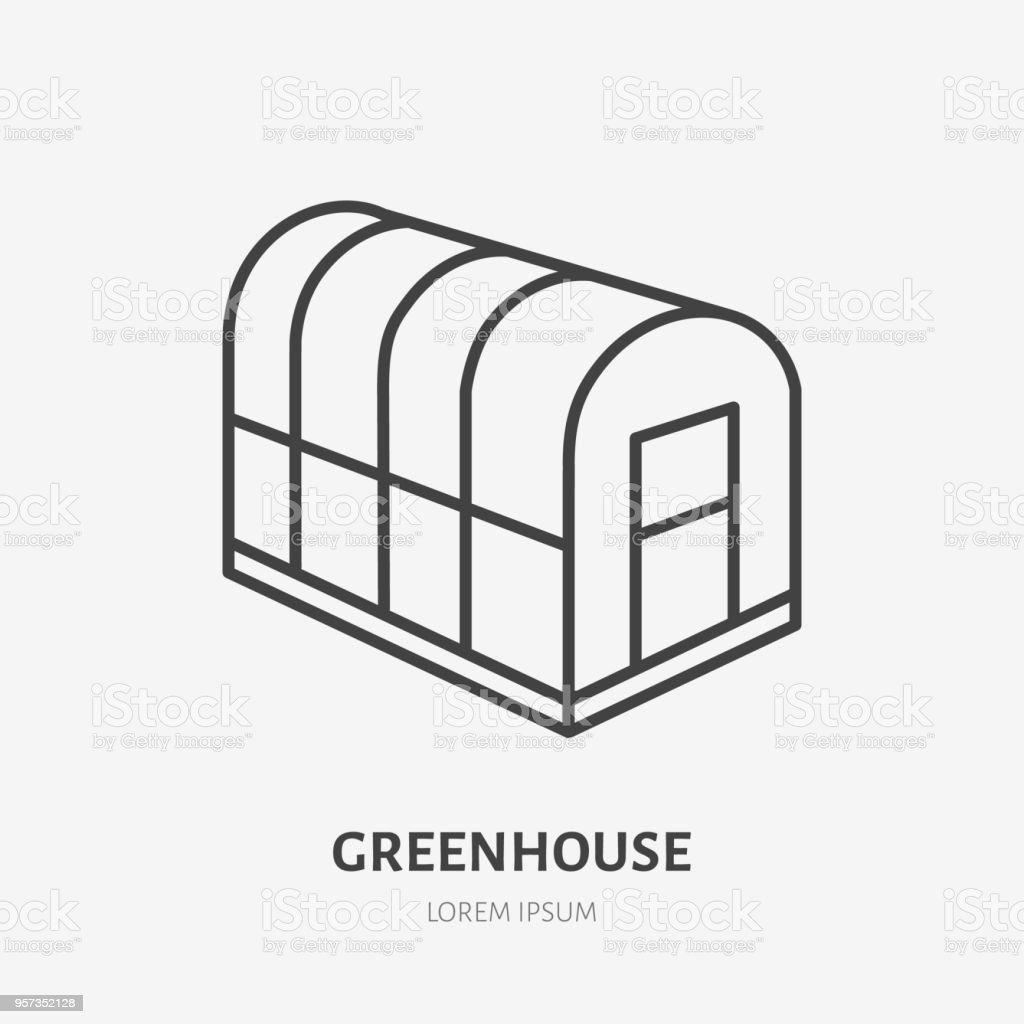 Koude frame platte lijn pictogram. Glazen serre teken. Dunne lineaire logo voor tuinieren, organische boerderij - Royalty-free Biologisch vectorkunst
