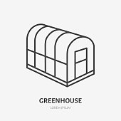 Cold frame flat line icon. Glass greenhouse sign. Thin linear logo for gardening, organic farm.