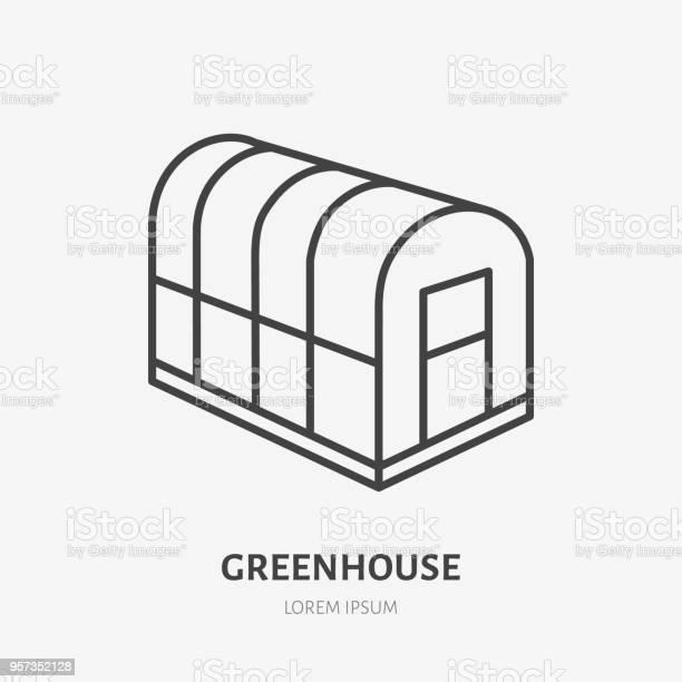 Koude Frame Platte Lijn Pictogram Glazen Serre Teken Dunne Lineaire Logo Voor Tuinieren Organische Boerderij Stockvectorkunst en meer beelden van Biologisch
