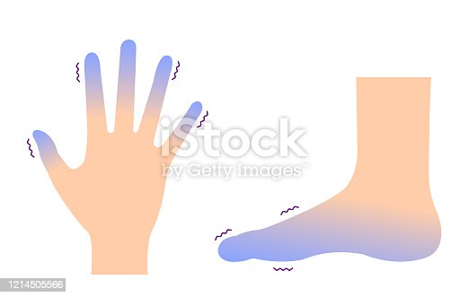 istock Cold hand and foot / blood circulation illustration (sensitivity to cold ) 1214505566