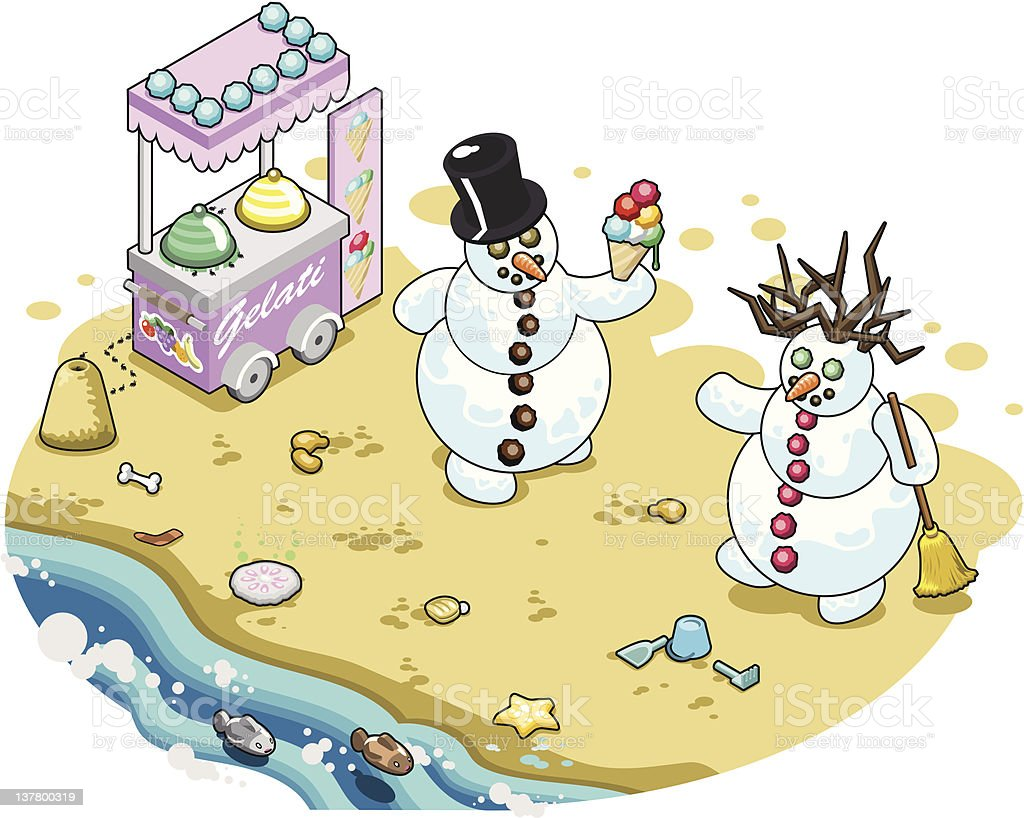 Cold icecream on hot beach vector art illustration