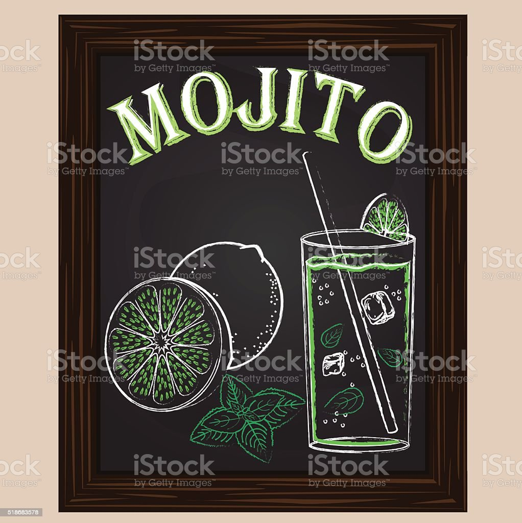 cold mojito with mint vector art illustration
