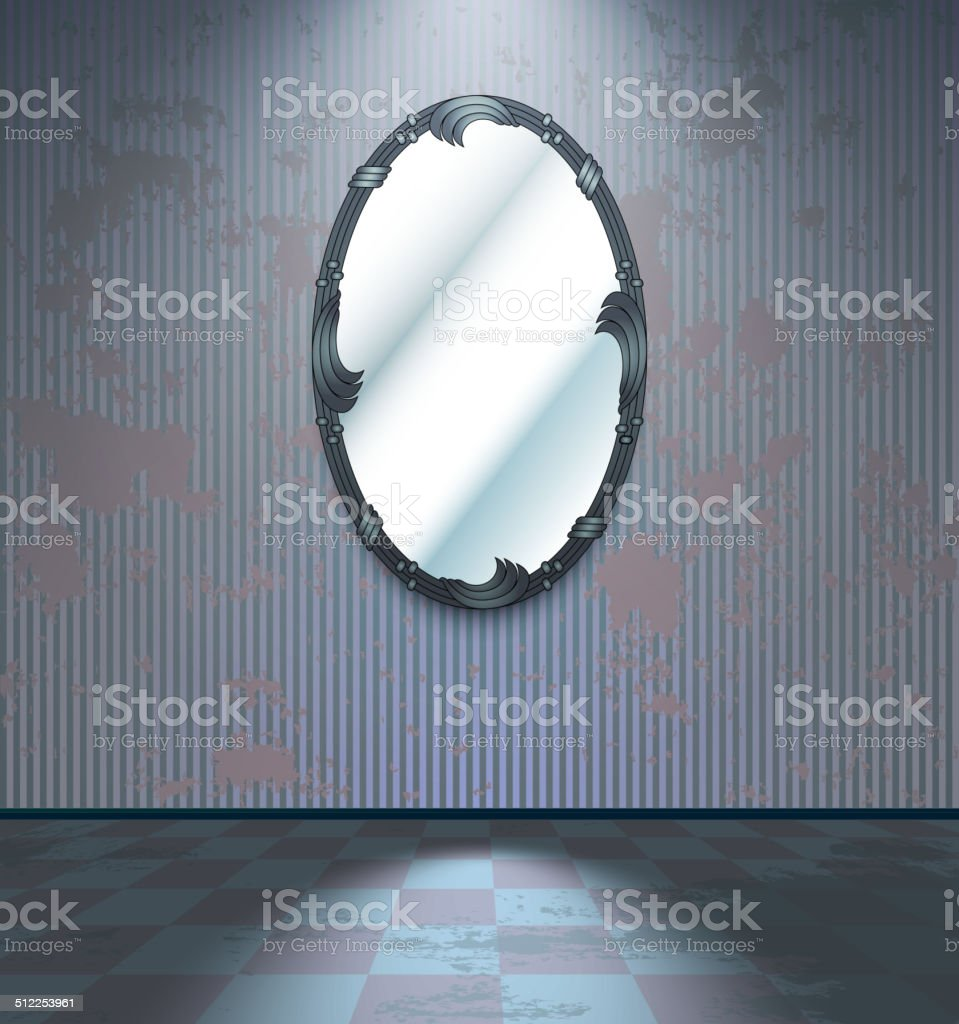Cold room with mirror vector art illustration