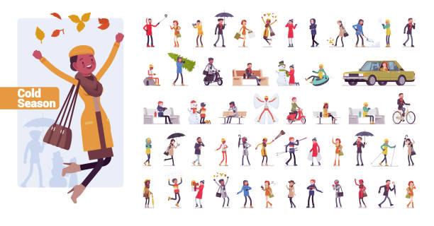 ilustrações, clipart, desenhos animados e ícones de jogo grande do caráter do pacote da estação fria - carro mulher