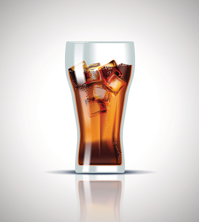 Cold soda drink with ice cubes