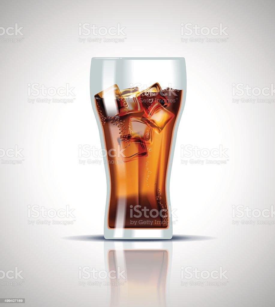 Refrigerante bebida gelada com cubos de gelo - ilustração de arte em vetor