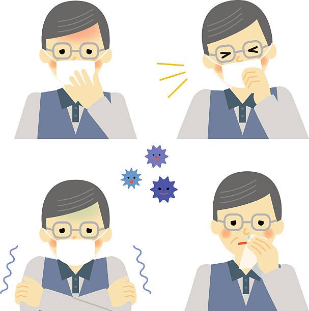 cold symptoms of senior man - old man mask stock illustrations, clip art, cartoons, & icons
