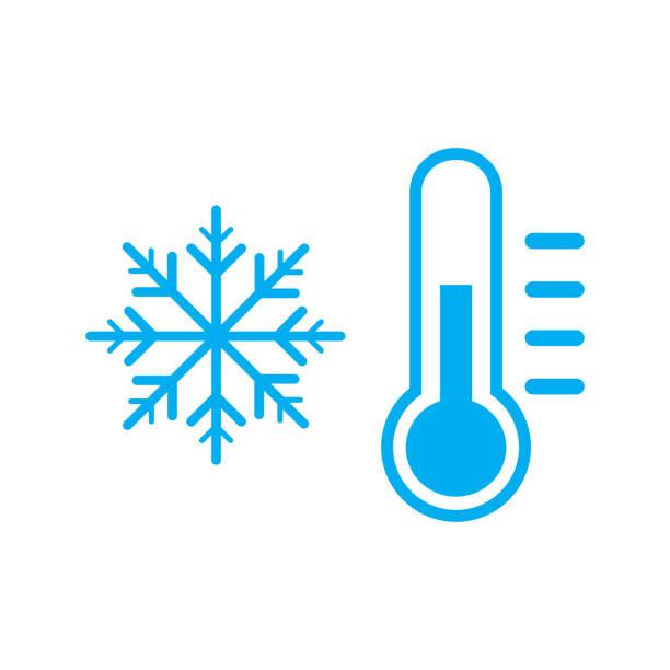 stockillustraties, clipart, cartoons en iconen met koude temperatuur teken pictogram vector - bevroren