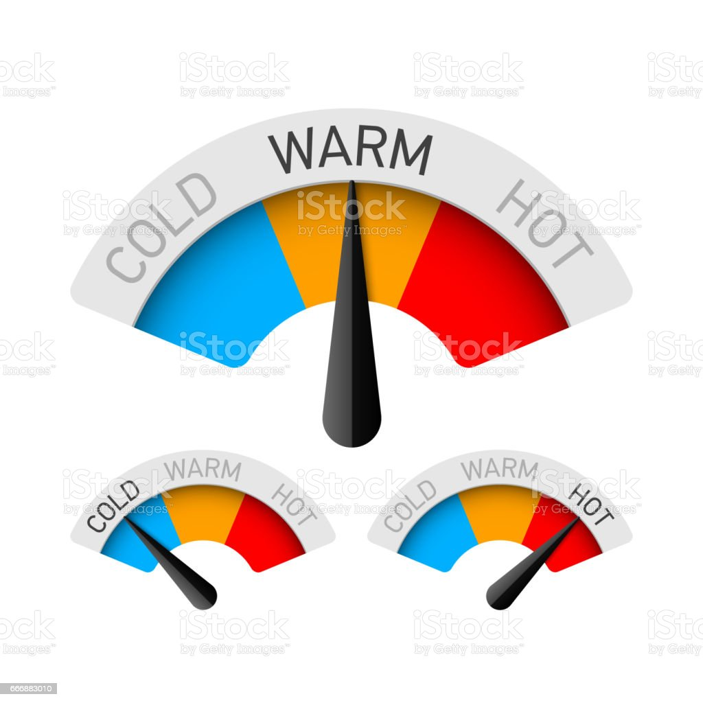 Cold, warm and hot temperature gauge vector art illustration