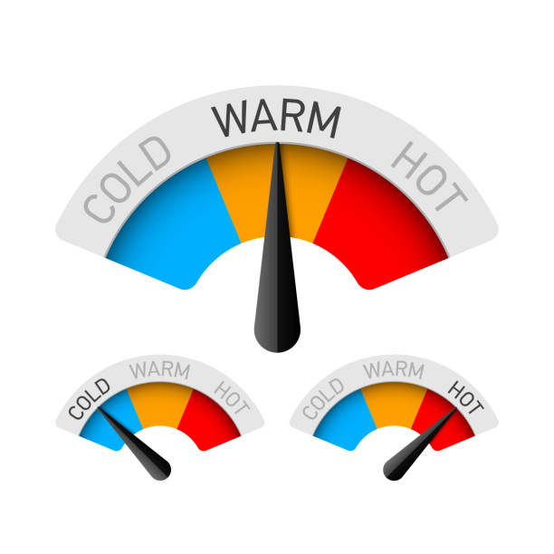 cold, warm and hot temperature gauge - zagadnienia stock illustrations