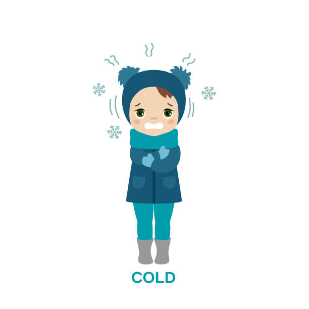 Cold weather girl. Freezing and shivering young girl on winter cold. Cartoon style illustration isolated on white background. shaking stock illustrations