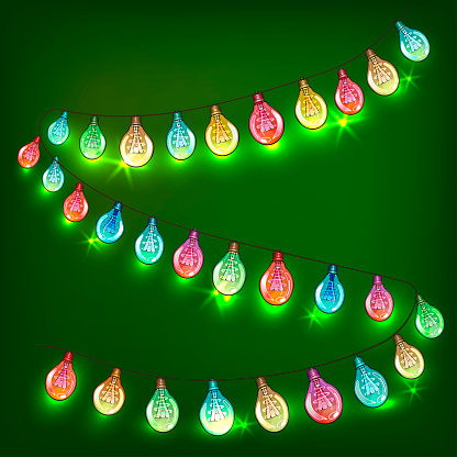 Coldred luminous festive New Year garlands. Decoration for the holiday.