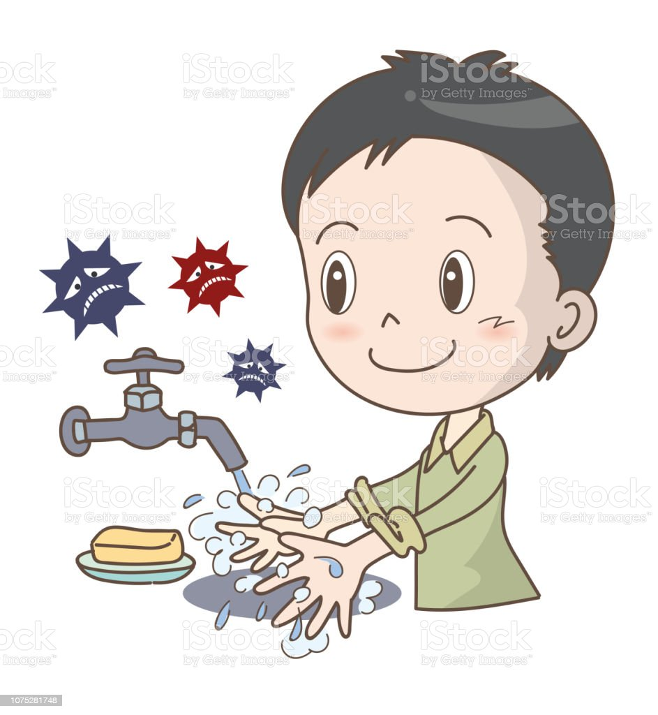 Colds and influenza prevention - Hand wash -Boy vector art illustration