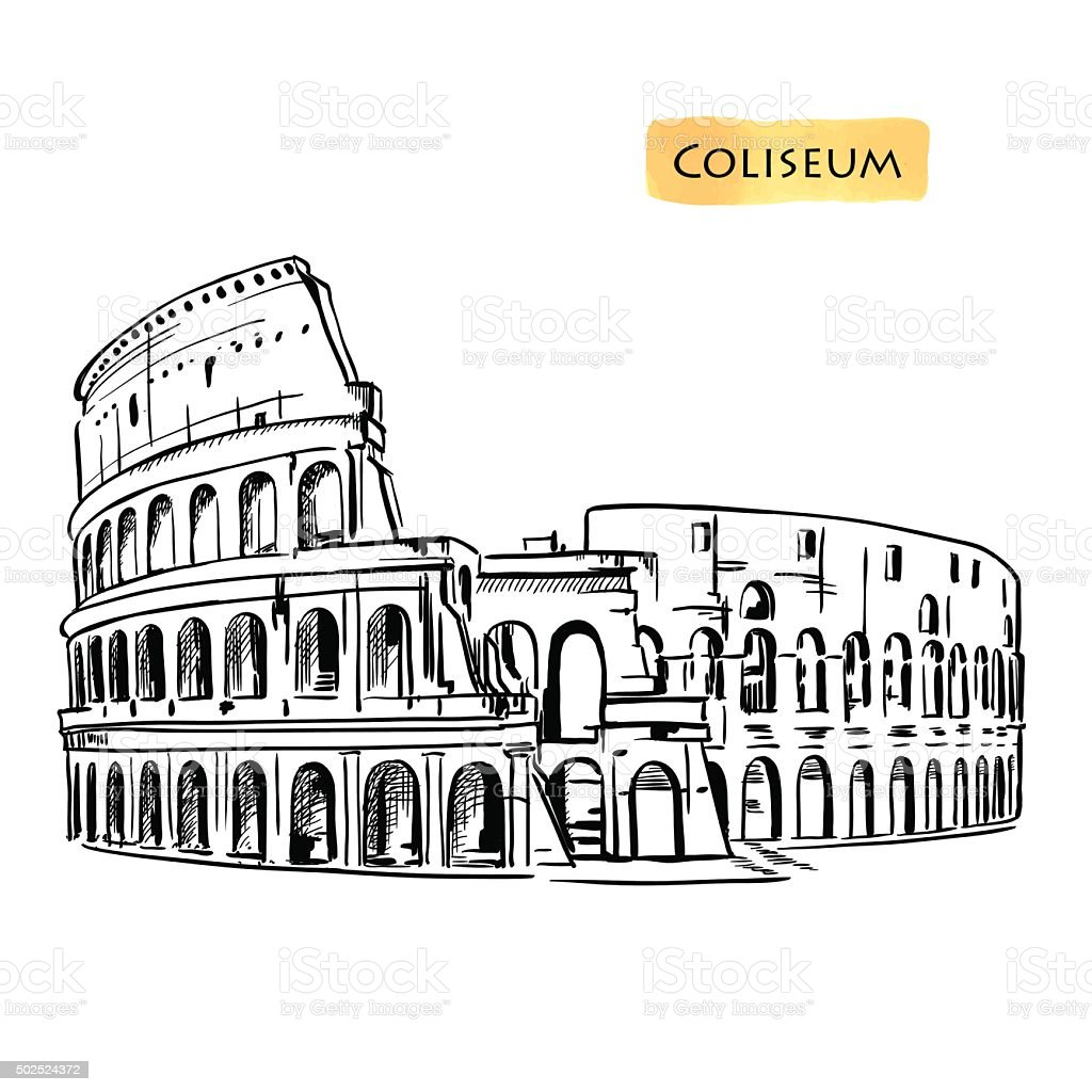 Coliseum in Rome, Italy. Colosseum hand drawn vector illustration isolated vector art illustration