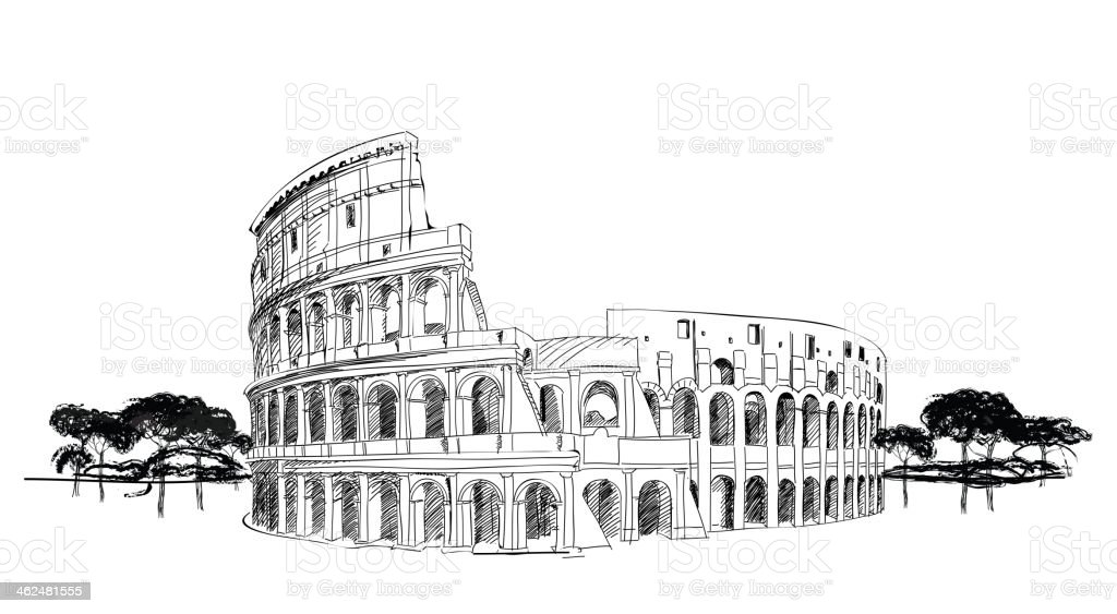 Coliseum in Rome, Italy. European Landmark. vector art illustration