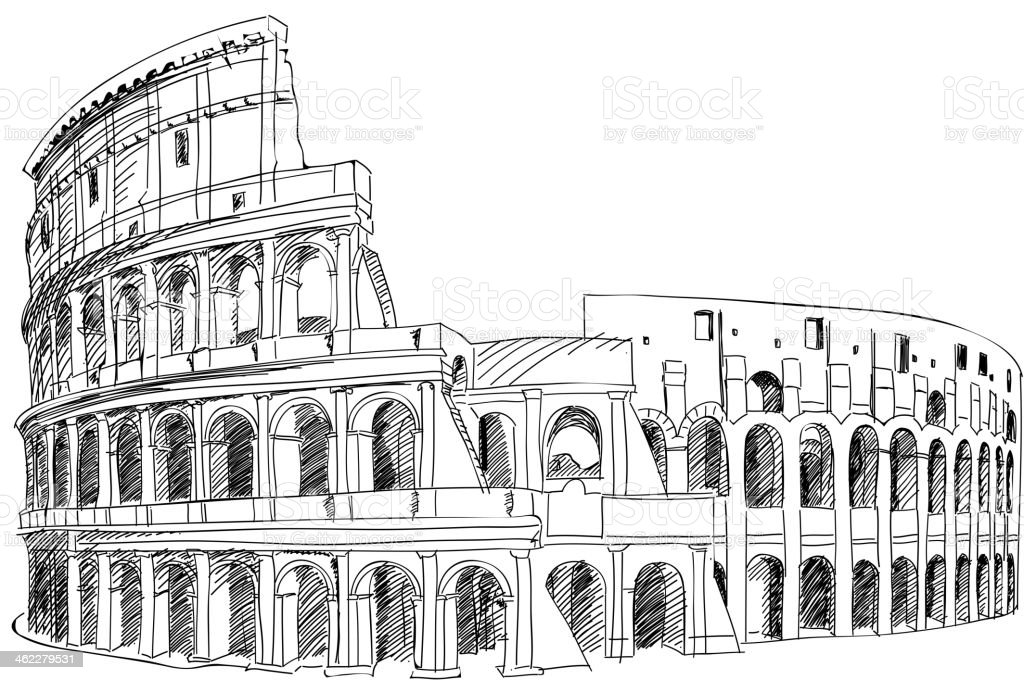 Coliseum in Rome, Italy. royalty-free stock vector art