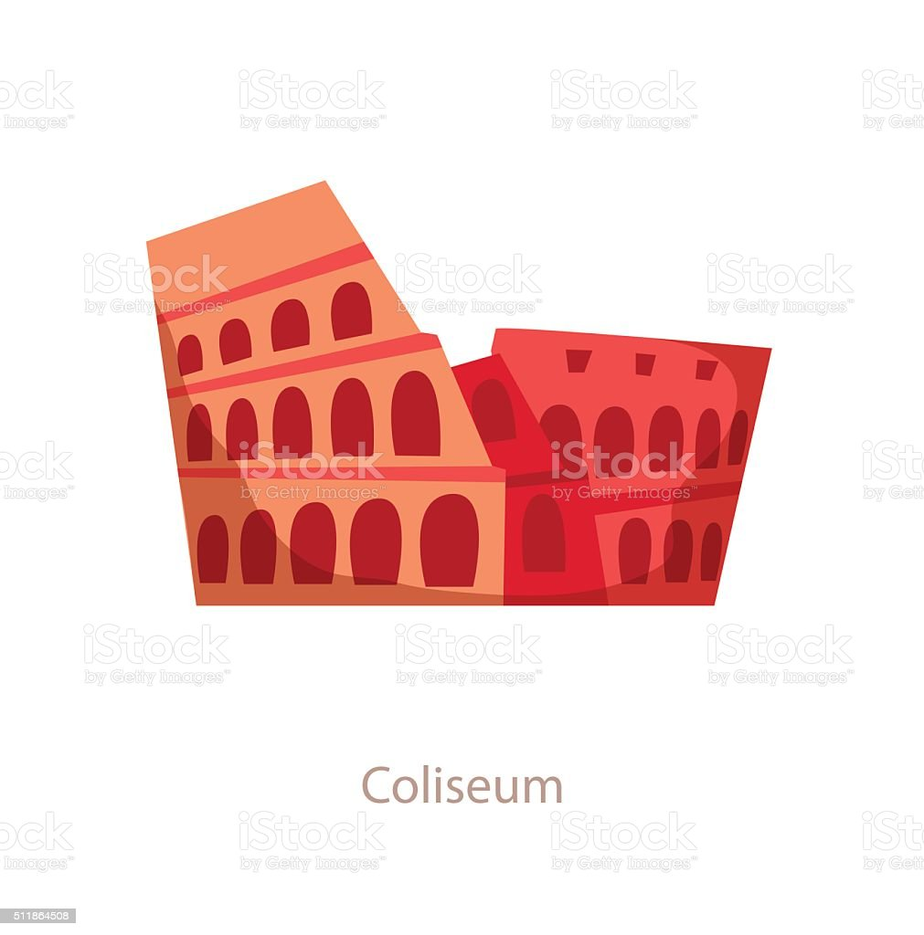 Coliseum. Rome landmark vector art illustration