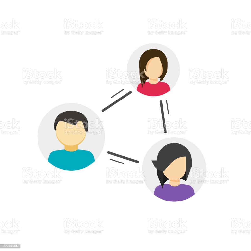 Collaborate or share links between community vector icon, concept of peer, link between social people, persons relation circle, group communication or connection, collaboration network, relationship vector art illustration