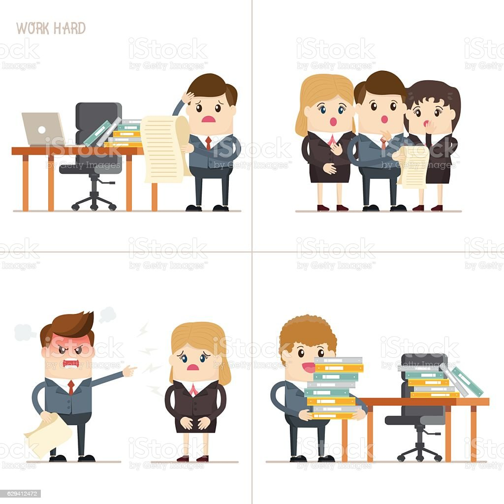 collaboration and teamwork of businessman and businesswoman - ilustración de arte vectorial