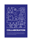 Collaboration Concept Line Style Cover Design for Annual Report, Flyer, Brochure.