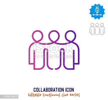 Collaboration vector icon illustration for logo, emblem or symbol use. Part of continuous one line minimalistic drawing series. Design elements with editable gradient stroke.