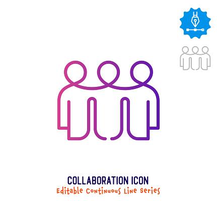 Collaboration Continuous Line Editable Icon
