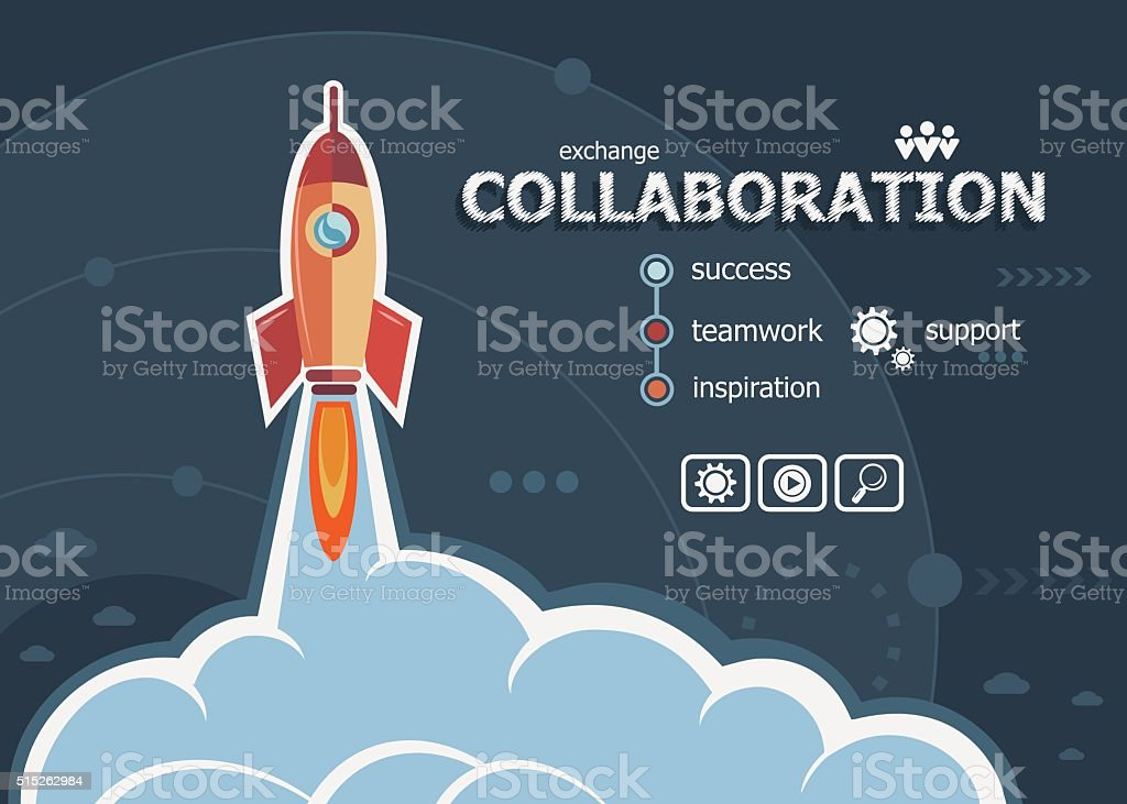 Collaboration design and concept background with rocket. vector art illustration