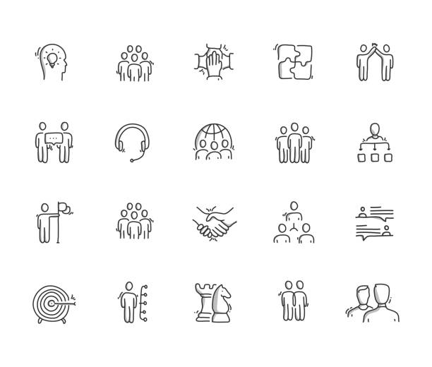 Collaboration Hand Draw Line Icon Set Collaboration Hand Draw Line Icon Set community drawings stock illustrations
