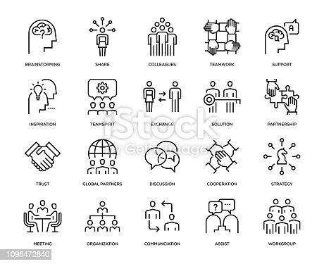 Collaboration Icon Set - Thin Line Series