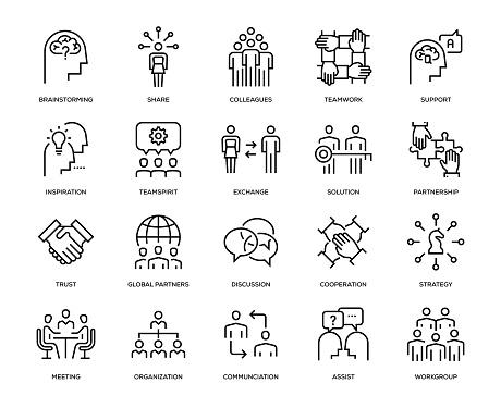 Collaboration Icon Set - Thin Line Series