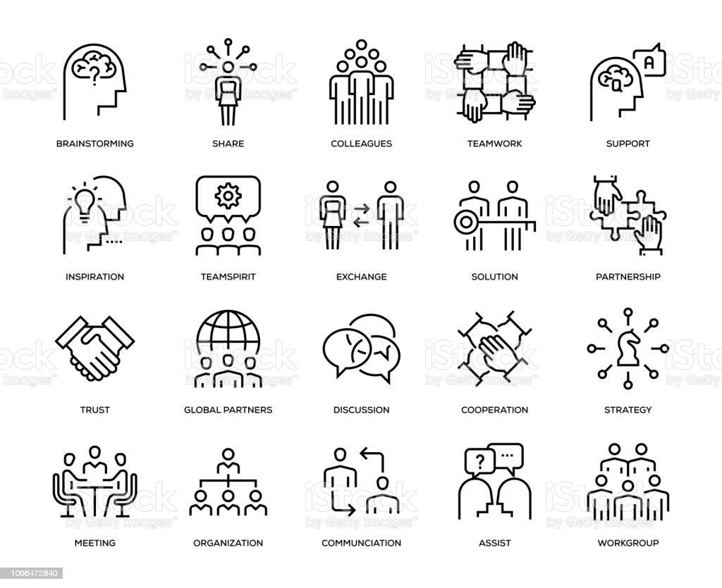 Conjunto de iconos de colaboración - ilustración de arte vectorial
