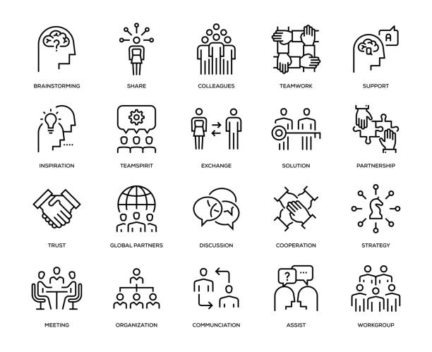 collaboration icon set - zawód stock illustrations